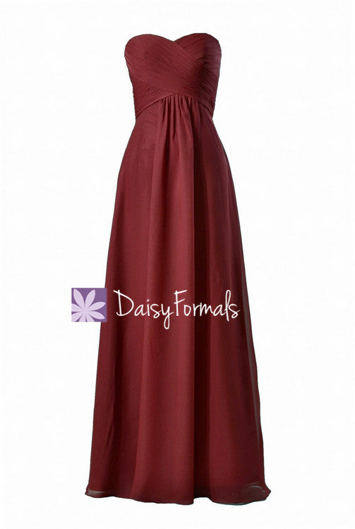 Cranberry chiffon bridal party dress long strapless sweetheart formal dress evening gowns(bm2442)