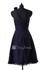 In stock,ready to ship - short one shoulder formal navy bridesmaid dresses(bm10358) - (#35 navy, sz6)
