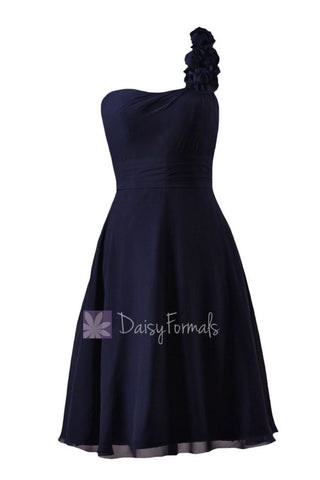 In stock,Ready to Ship - Short One Shoulder Navy Bridesmaid Dress(BM10358) - (#35 Navy, Sz6)