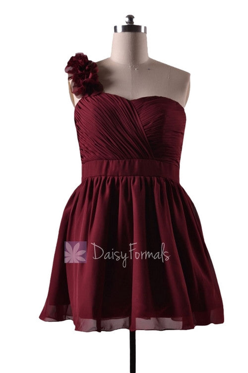 In stock,ready to ship - plus size red one shoulder mini length discount chiffon bridesmaid dress(bm223n) - (falu red)