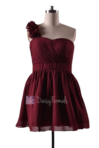 In stock,Ready to Ship - Plus Size Red One Shoulder Mini Length Chiffon Bridesmaid Dress(BM223N) - (Falu Red)