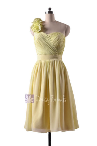 In stock,Ready to Ship - Short Yellow Chiffon Bridesmaid Dress W/Handmade Flowers(BM223) - (#25 Light Yellow)