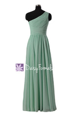 Long mint affordable bridesmaid dress one shoulder mint chiffon party dress one shoulder formal dresses(bm351)