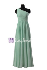 Long mint affordable bridesmaid dress one shoulder mint chiffon party dress one shoulder formal dress(bm351)