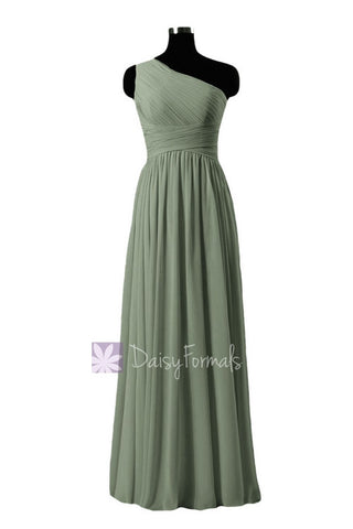 In stock,Ready to Ship - Long One Shoulder Bridesmaid Dress Green Chiffon Party Dress(BM351L) - (Xanadu, Sz4)