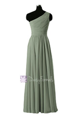 In stock,ready to ship - long one shoulder affordable bridesmaid dress green chiffon party dresses(bm351l) - (xanadu, sz4)