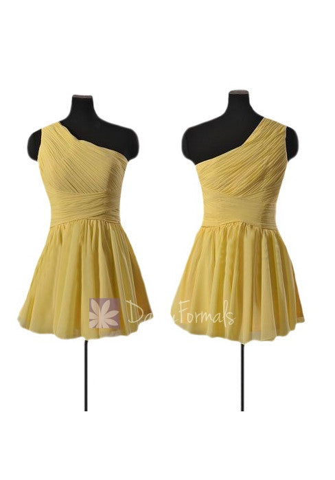 Mini length one-shoulder bridal party dress yellow cocktail dress(bm351n)
