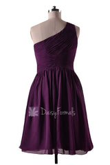 In stock,ready to ship - short one shoulder purple chiffon bridesmaid dresses(bm351) - (#2 byzantium)