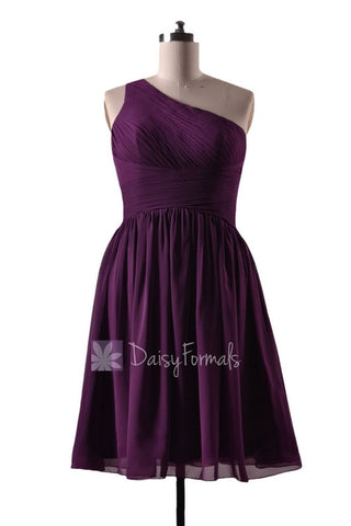 In stock,Ready to Ship - Short One Shoulder Purple Chiffon Bridesmaid Dress(BM351) - (#2 Byzantium)