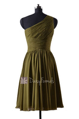 In stock,ready to ship - short one shoulder affordable olive green chiffon bridesmaid dresses(bm351) - (#28 dark olive)
