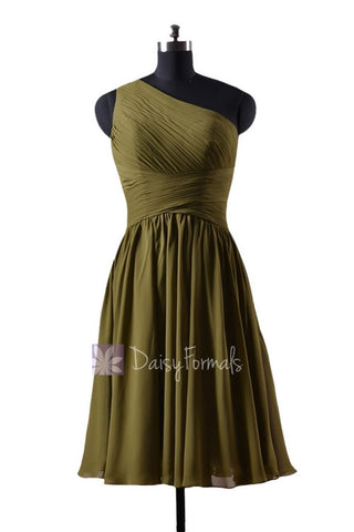 In stock,Ready to Ship - Short One Shoulder Olive Green Chiffon Bridesmaid Dress(BM351) - (#28 Dark Olive)