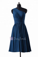 In stock,ready to ship - short one shoulder affordable peacock blue chiffon bridesmaid dress(bm351) - (#41 peacock blue, sz2)