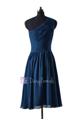 In stock,ready to ship - short one shoulder affordable peacock blue chiffon bridesmaid dresses(bm351) - (#41 peacock blue, sz2)