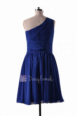 In stock,ready to ship - short one shoulder blue chiffon bridesmaid dresses(bm351) - (#36 sapphire)