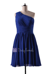 In stock,ready to ship - short one shoulder blue chiffon bridesmaid dress(bm351) - (#36 sapphire)