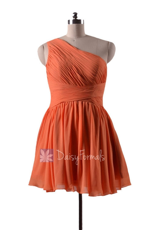In stock,ready to ship - mini length one shoulder affordable chiffon bridesmaid dress (bm351n)- (#22 orange)