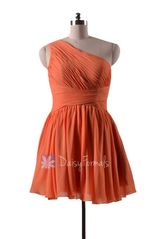 In stock,Ready to Ship - Mini Length One Shoulder Chiffon Bridesmaid Dress (BM351N)- (#22 Orange)
