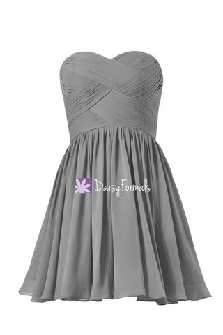 Cadet Grey Strapless Bridesmaids Dresses Sweetheart Cocktail Dress (BM1426B)