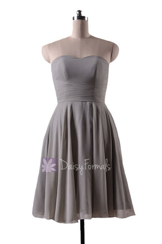 In stock,Ready to Ship - Knee Length Sweetheart Gray Chiffon Bridesmaid Dress(BM8487S) - (#55 Gray, Sz10)