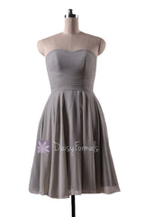 In stock,ready to ship - short knee length sweetheart gray elegant chiffon bridesmaid dress(bm8487s) - (#55 gray, sz10)