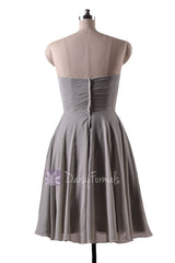 In stock,ready to ship - short knee length sweetheart gray elegant chiffon bridesmaid dresses(bm8487s) - (#55 gray, sz10)