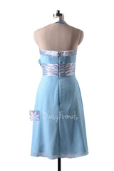 In stock,ready to ship - short halter sky blue inexpensive chiffon bridesmaid dresses(bm8529) - (#39 sky blue, sz4)