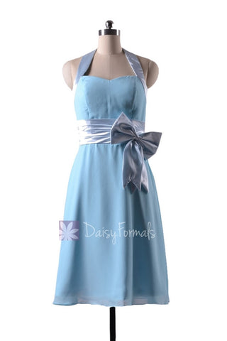 In stock,Ready to Ship - Short Halter Sky Blue Chiffon Bridesmaid Dress(BM8529) - (#39 Sky Blue, Sz4)