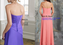 Empire Purple Bridesmaid Dress Long Chiffon Formal Dress W/Floral Strap(BM2454L)
