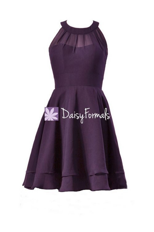 Plum knee length party dress sexy eggplant chiffon special occasion dress (cst1003)