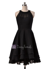 Illusion neckline high low bridesmaid dress black chiffon discount formal dresses w/illusion neckline(cst2225)