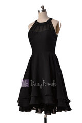 Illusion neckline high low bridesmaid dress black chiffon discount formal dress w/illusion neckline(cst2225)