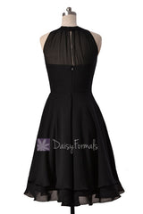 Illusion neckline High Low Bridesmaid Dress Black Chiffon Formal Dress W/Illusion Neckline(CST2225)