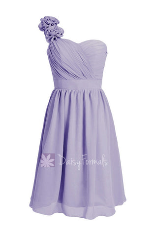 Classic Lavender Short One Shoulder Bridesmaid Dress Chiffon Cocktail Dress Party Dress(BM102)