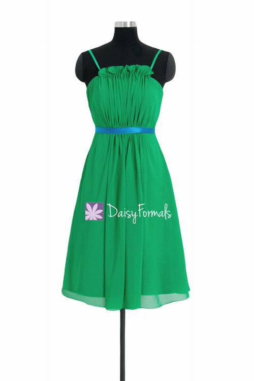 Green chiffon bridesmaids dress ruffled neckline party dress beach party dress (bm10261)