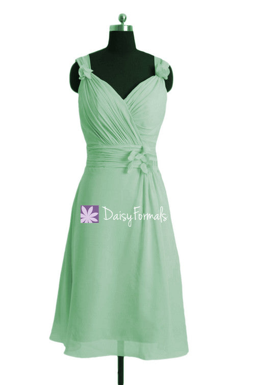 Custom light green bridesmaids dress cheap bridal party dress (bm10298)