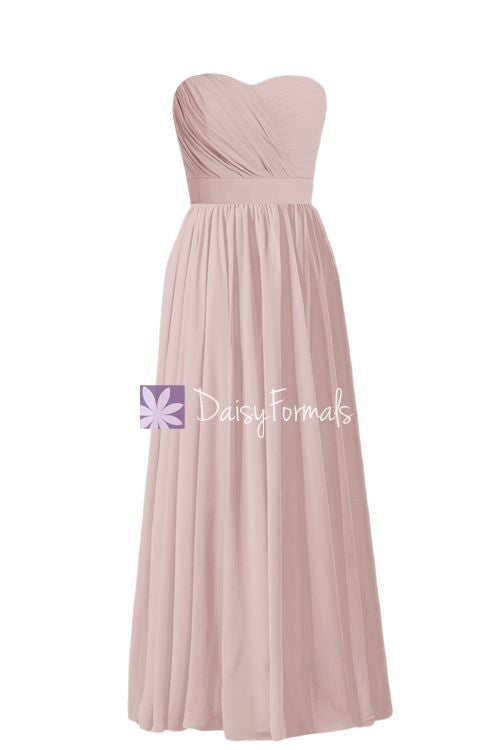 Long Dusty Rose Chiffon Party Dress Strapless Semi Sweetheart Prom Dress Formal Dress (BM102AL)