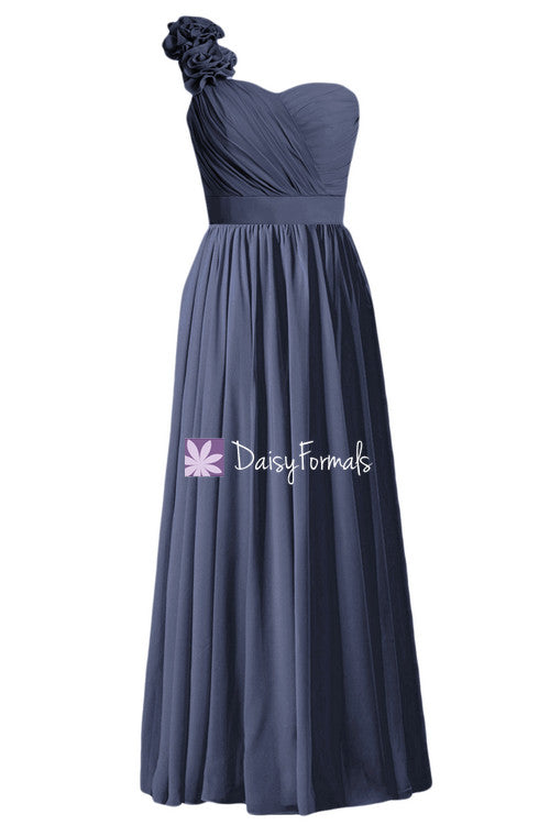 Long navy chiffon bridesmaid dress full length one shoulder bridesmaid dresses online (bm102l)