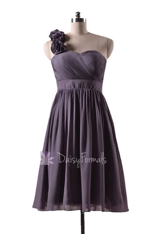 In stock,Ready to Ship - Short One Shoulder Gray Bridesmaid Dress(BM233) - (#54 Slate Gray, Sz8)