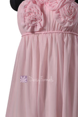 One shoulder light pink chiffon bridesmaid dress pink materinity party dresses w/rosettes(bm1031s)