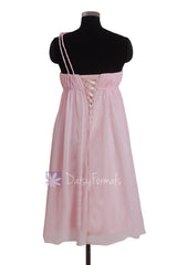One Shoulder Light Pink Chiffon Bridesmaid Dress Pink Materinity Party Dress W/Rosettes(BM1031S)
