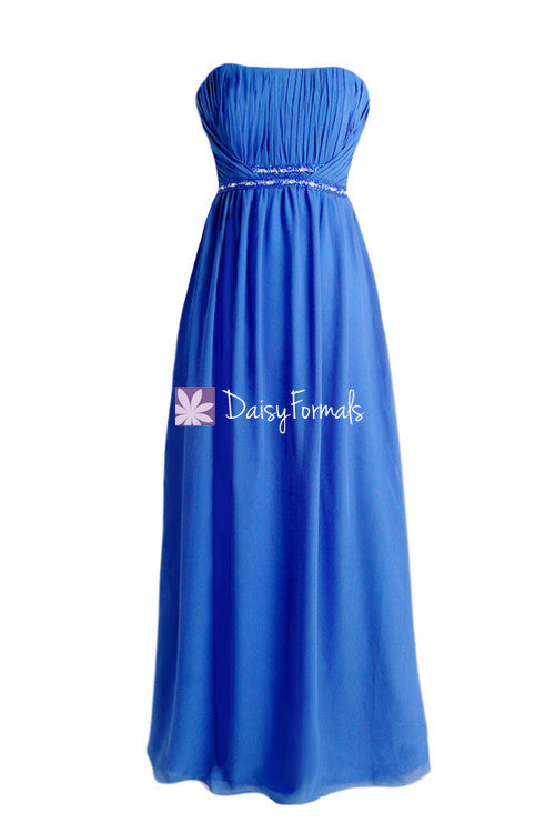 Blue prom dress blue chiffon bridesmaids dress long chiffon evening dress formal dress(bm1035)