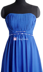 Blue prom dress blue chiffon bridesmaids dress long chiffon evening dress formal dresses(bm1035)
