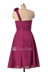 Purple wedding party dress short one shoulder chiffon dresses w/fabric flowers(bm10358)