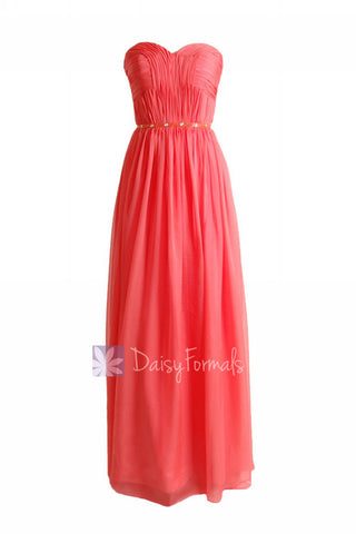 Charming Long Sweetheart Chiffon Bridesmaid Dress Special Coral Beaded Evening Dress(BM1037)