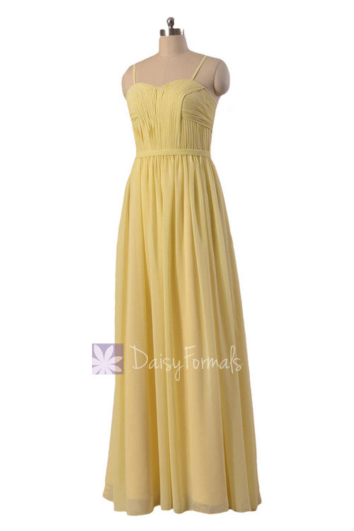 Light yellow inexpensive chiffon bridesmaid dress flowing party dress stylish formal gowns (bm1037o)
