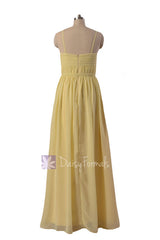 Light yellow inexpensive chiffon bridesmaid dress flowing party dresses stylish formal gowns (bm1037o)