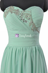 Quality Chiffon Bridesmaid Dress Beaded Bridal Party Dress Mint Evening Dress Holiday Dress(BM1044)