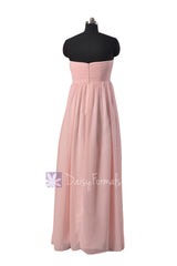 Gorgeous Floor Length Pink Chiffon Wedding Party Dress W/Empire Waist(BM10821L)