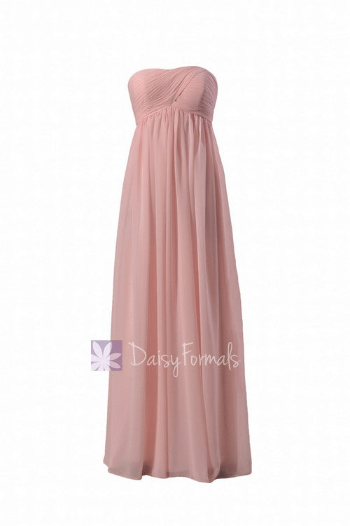 Gorgeous floor length pink chiffon wedding party dress online w/empire waist(bm10821l)