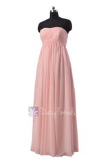 Gorgeous floor length pink chiffon wedding party dresses online w/empire waist(bm10821l)
